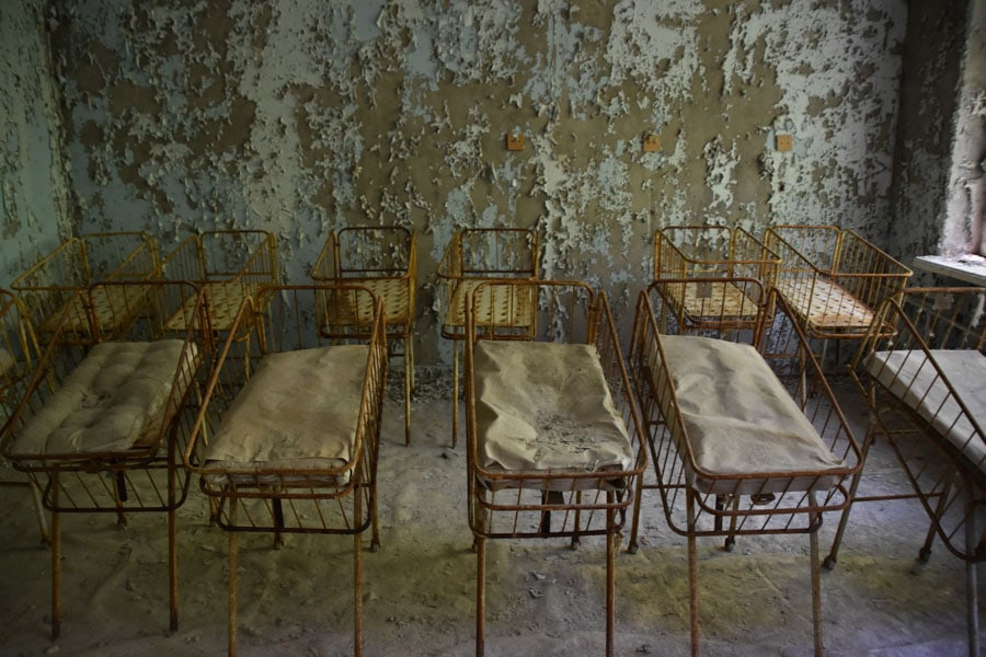 Rusting Cots in Pripyat Hospital