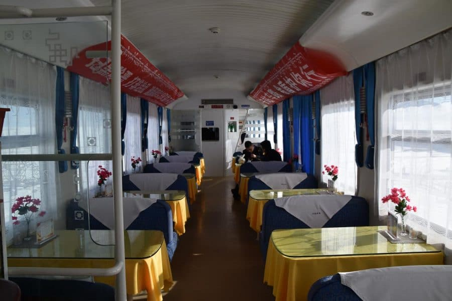 Restaurant car on the Xining to Lhasa Train