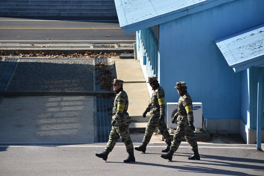 Soldiers at the DMZ in North Korea